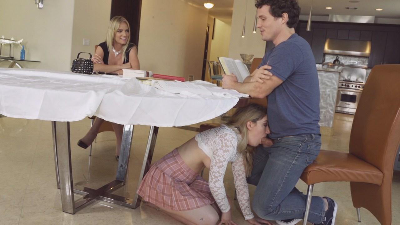 Stepmom Blowjob Under Table